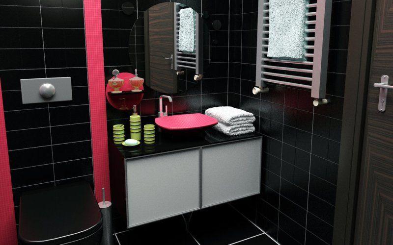 Черная ванная с малиновыми акцентами