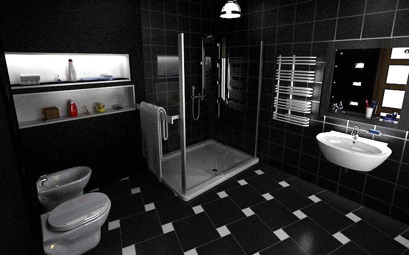 Черная ванная комната со светлой душевой, унитазом и беде