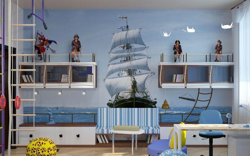 Морской стиль в комнате для мальчика: особенности, фото интерьеров