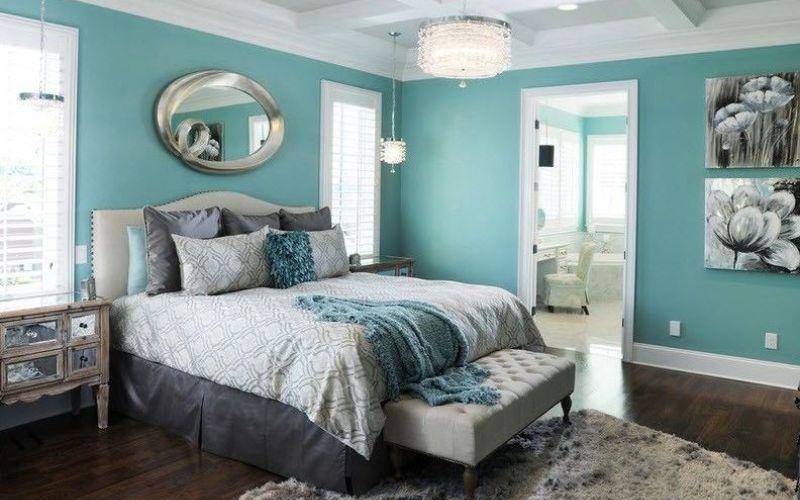 Спальня в бирюзовых тонах (+25 интерьеров)