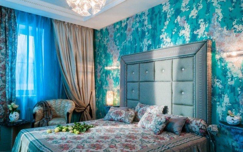 Спальня в бирюзовых оттенках