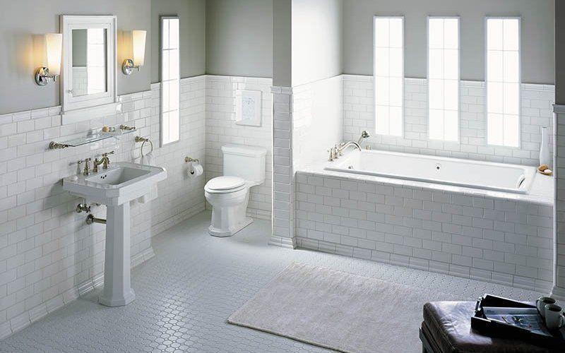 Белые ванные, фото интерьеров