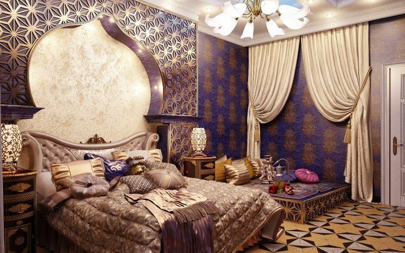 Спальня в восточном стиле: выбор цвета, мебели, декора