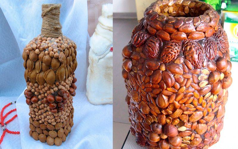 Декорирование вазы природными материалами