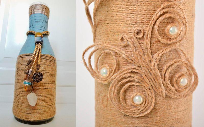 Декорирование вазы с помощью бечевки или ниток