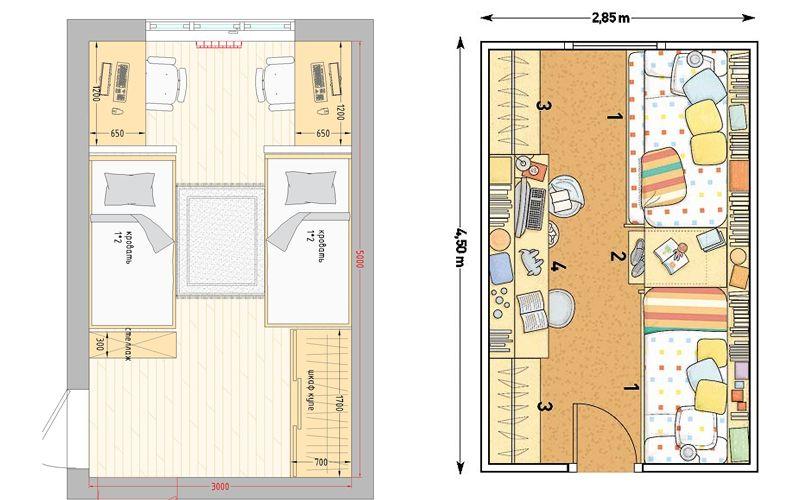 Как разместить две отдельные кровати в детской комнате (+40 фотоидей)
