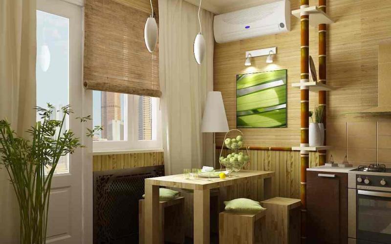 Бамбуковые обои на кухне, фото