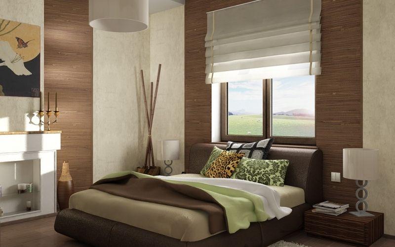 Бамбуковые обои в спальне, фото