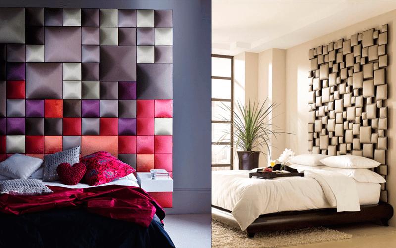 Мягкие панели особенно актуальны в изголовье кровати