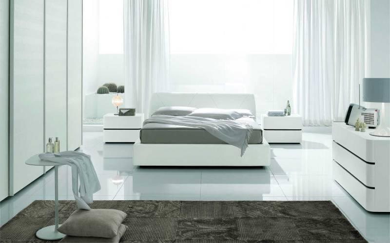 Скандинавская белая спальня