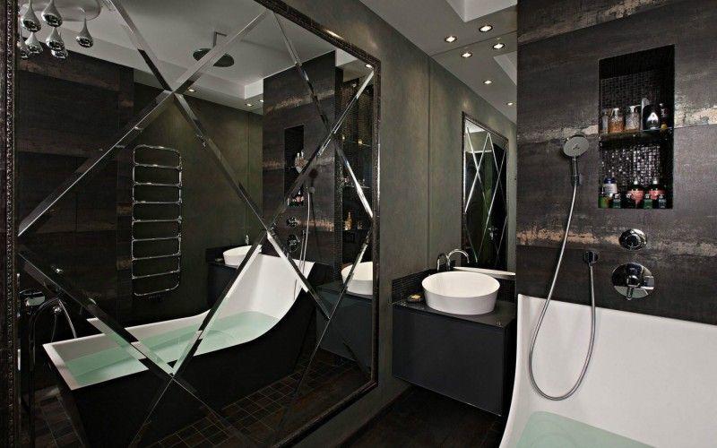 Черная ванная комната, фото интерьеров