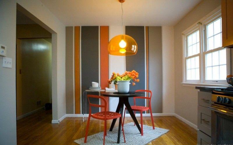 Полосы на стенах в кухне, фото