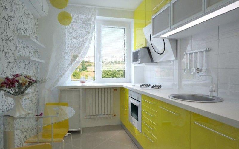 Желтый и белый цвет на кухне