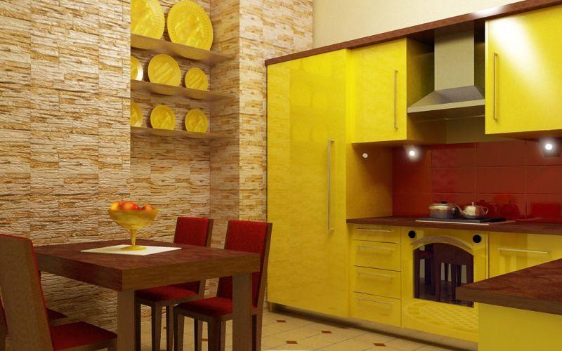 Мебель для желтой кухни