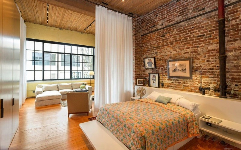 Спальня в стиле лофт. 30 готовых интерьеров