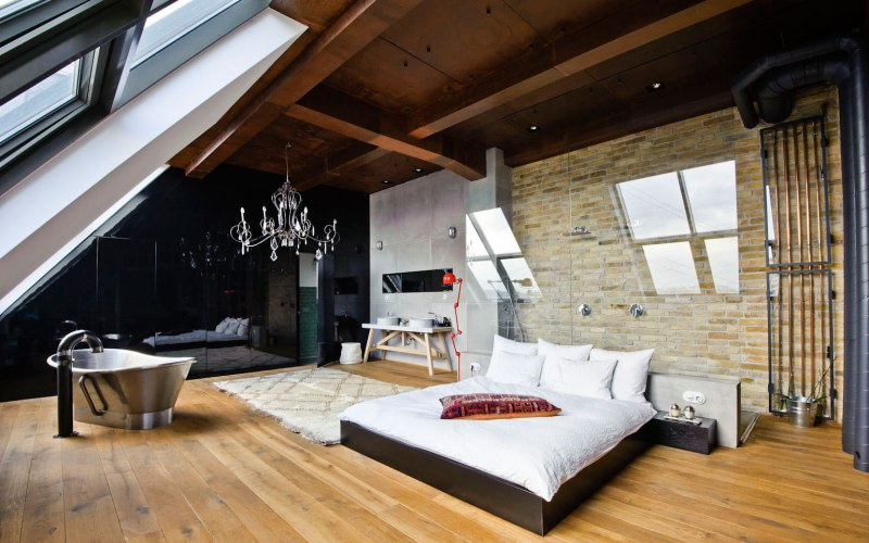 Спальня в стиле лофт - Отделка