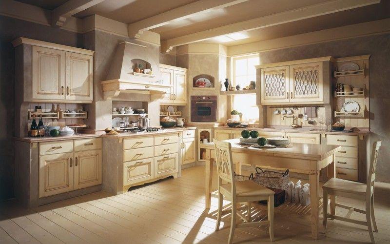 Бежевый - основной цвет на кухне кантри