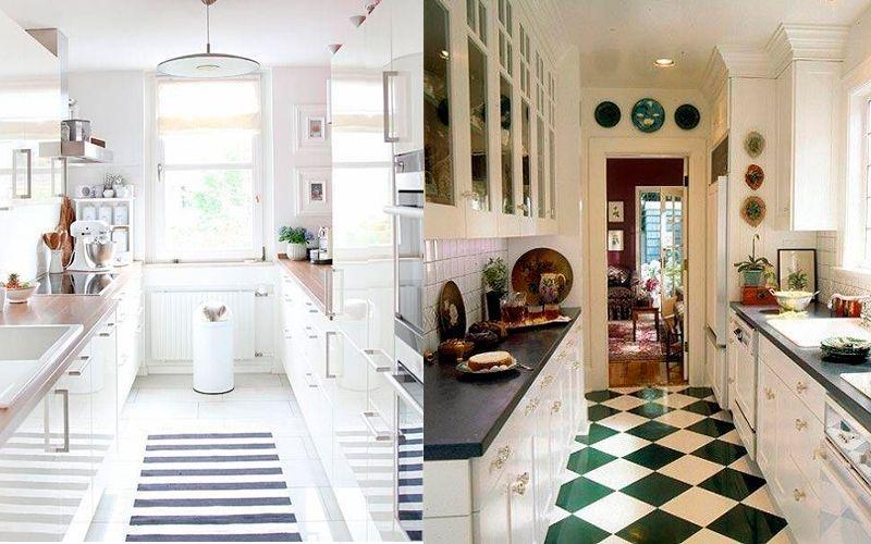 Двухрядная планировка маленькой кухни