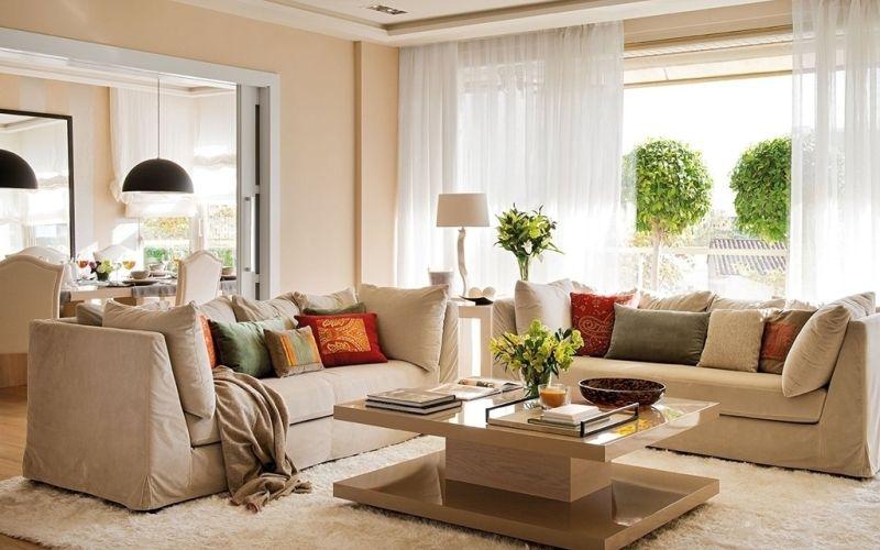 Гостиная в бежевых тонах: цвета, мебель, декор