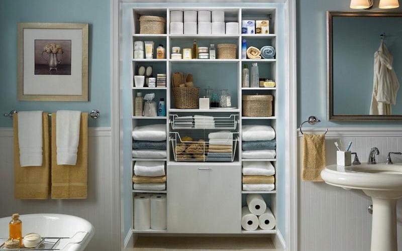 Открытые полки в интерьере - Открытые полки в ванной
