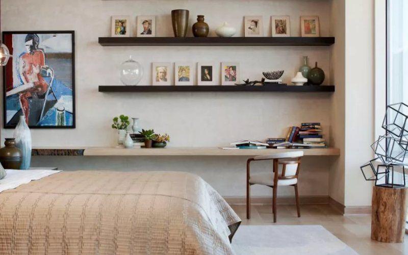 Открытые полки в интерьере - Открытые полки в спальне