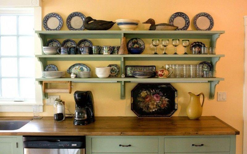 Как и где использовать открытые полки в интерьере - Открытые полки на кухне