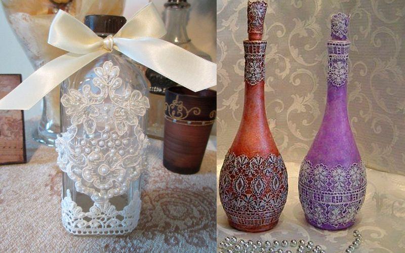 Декор вазы из кружева и лент