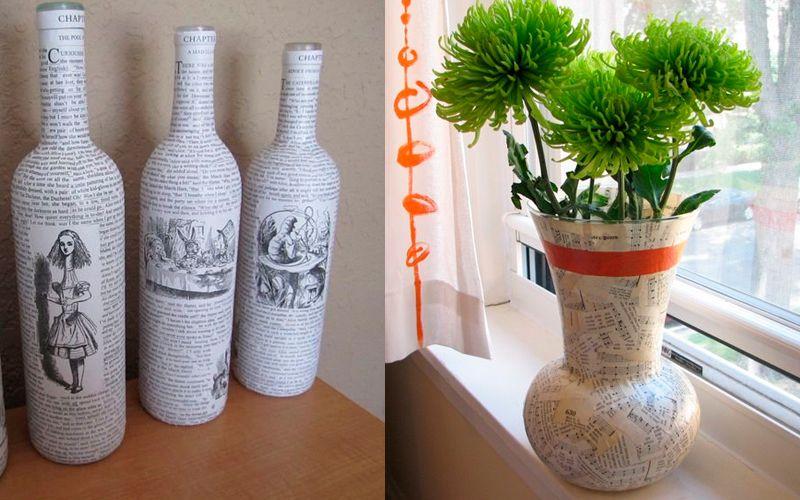 Декорирование вазы газетами, бумагой, нотами