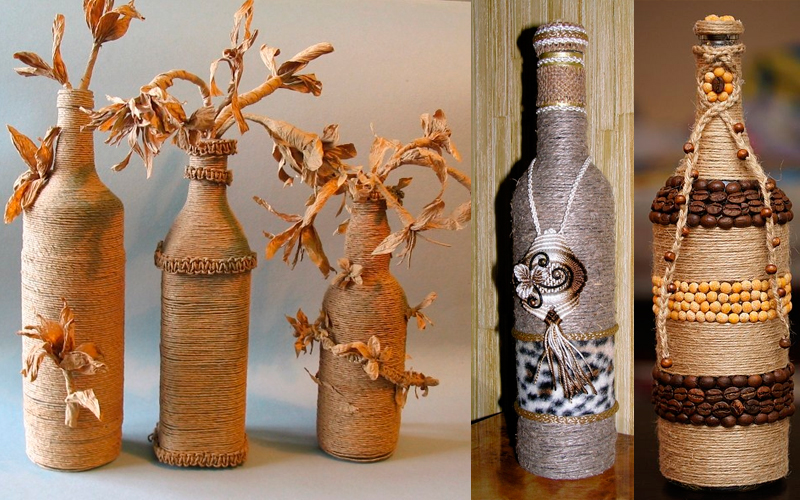118-5 Вазы из стеклянных бутылок: декор, роспись и обрезка
