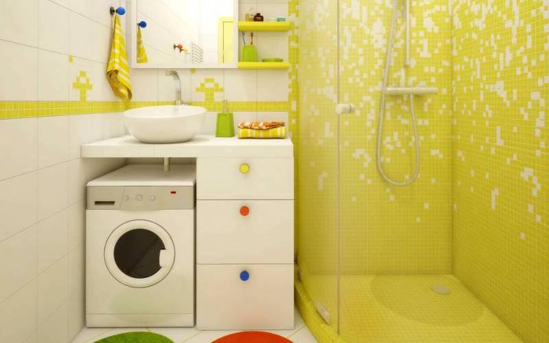 Дизайн ванной комнаты в хрущевке - Куда поставить стиральную машину?