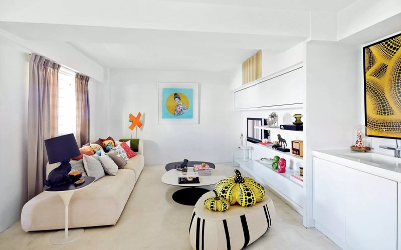 Отделка белой гостиной - Стены