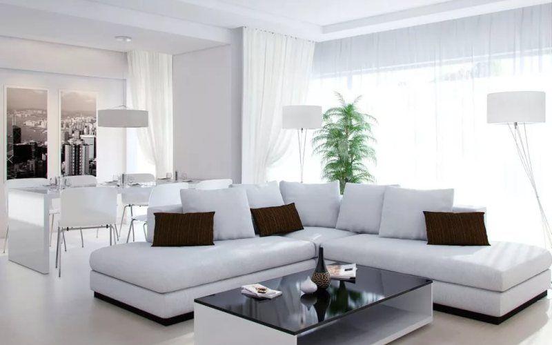 Интерьер белой гостиной: оформление, мебель, декор