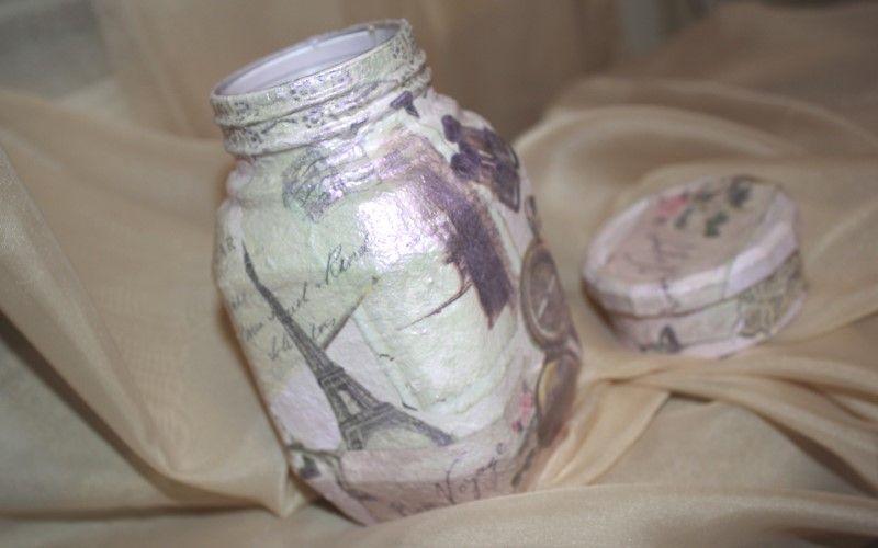 Декупаж стеклянной банки для кофе