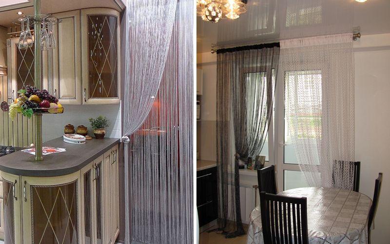 Нитяные шторы (кисея) на кухню