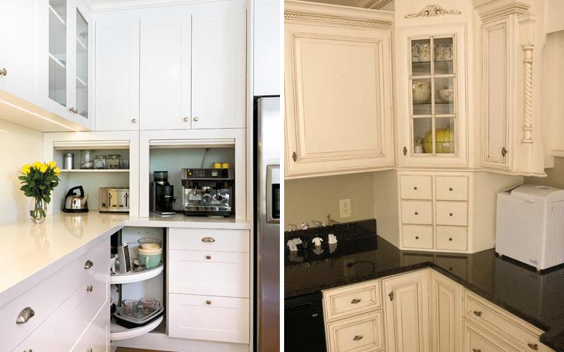 Шкафы для хранения в углу кухни