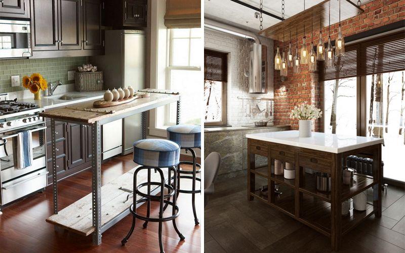 Кухонный остров на кухне лофт