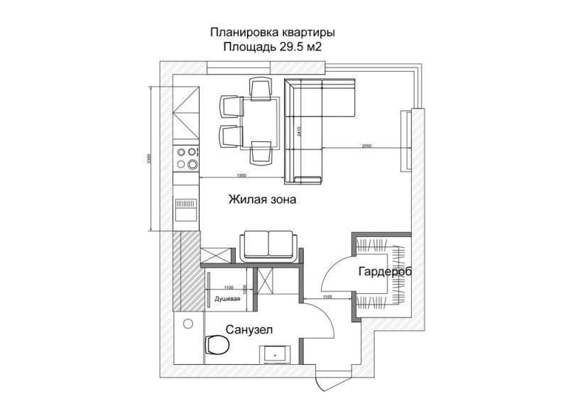 Проект небольшой квартиры в современном стиле