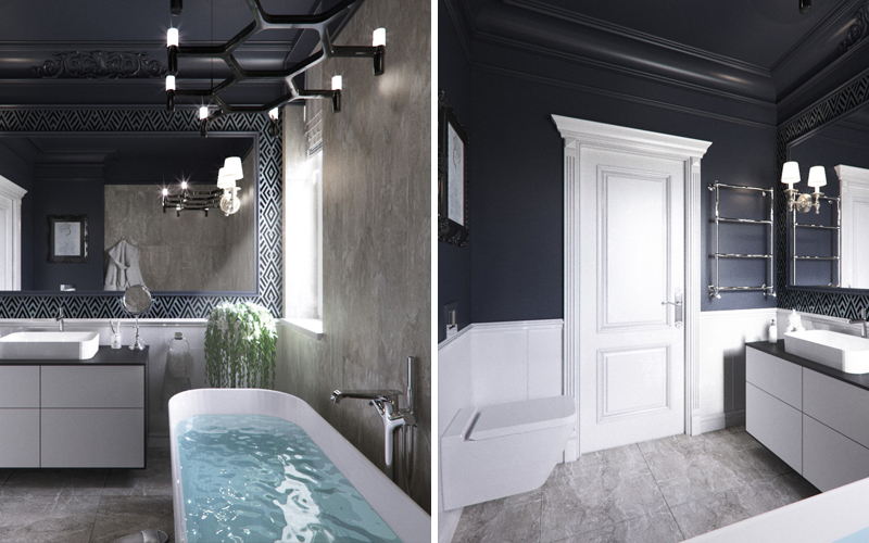 Чёрная ванная комната