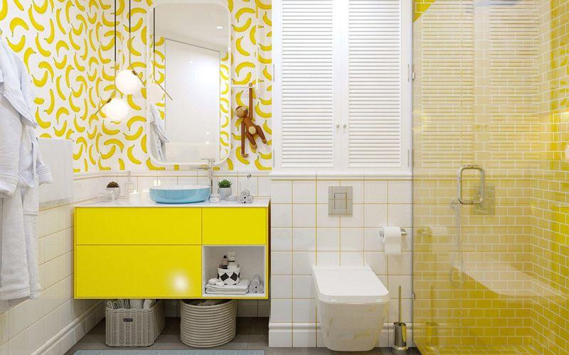 Жёлтые и зеленые оттенки в ванной