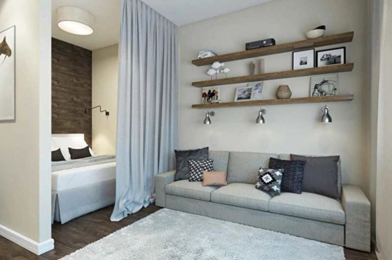 Как зонировать однокомнатную квартиру - Шторы