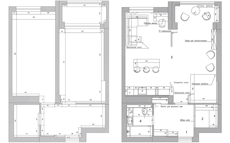 Перепланировка однокомнатной квартиры 55 кв.м
