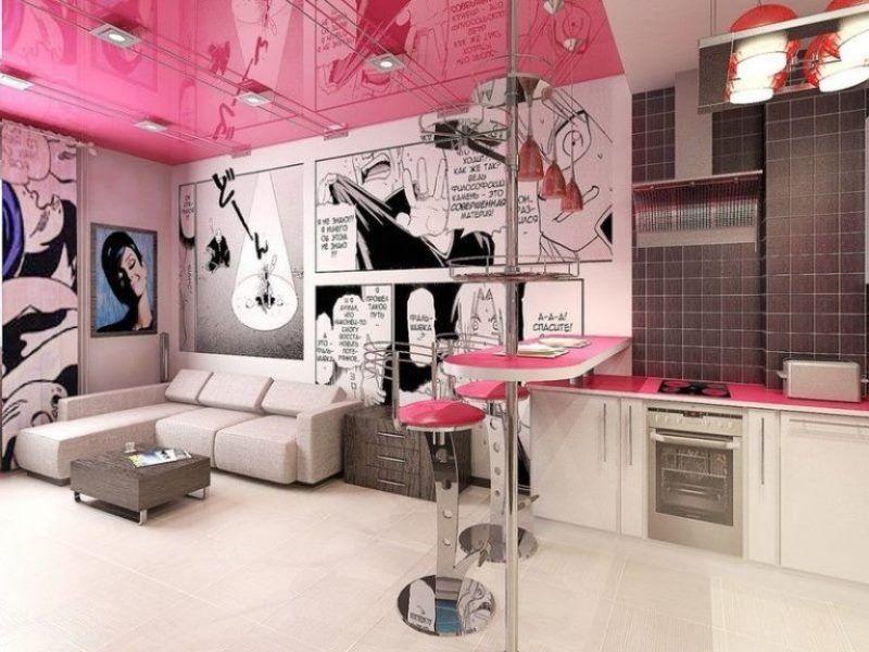Кухня-студия в стиле поп-арт