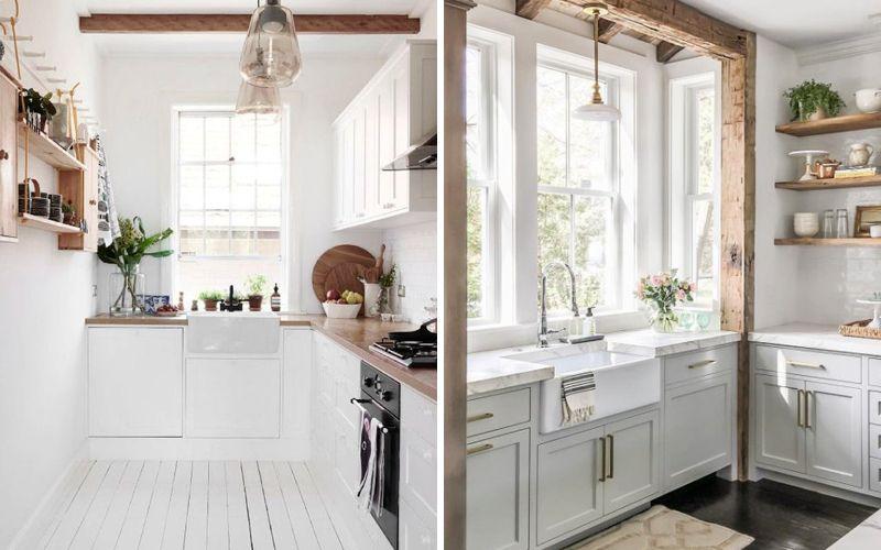 Раковина под окном на кухне