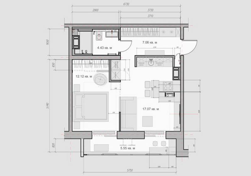 Квартира 40 метров для мужчины - дизайн интерьера
