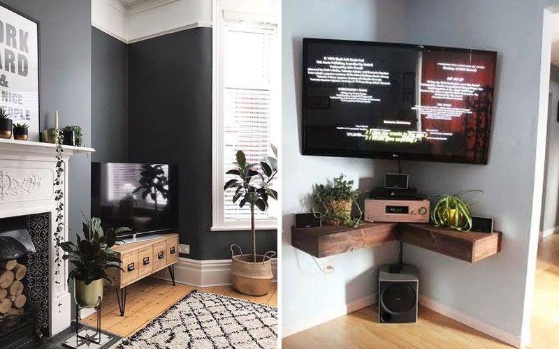 Телевизор в углу гостиной
