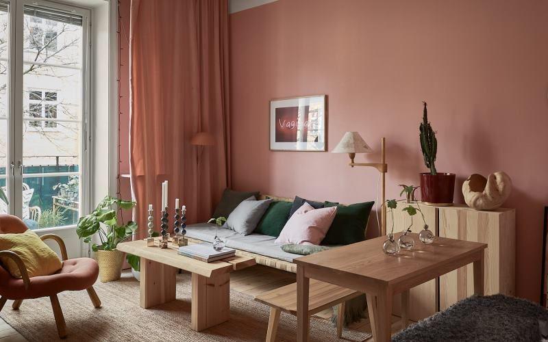 Интересный дизайн студии 29 метров в розовых тонах