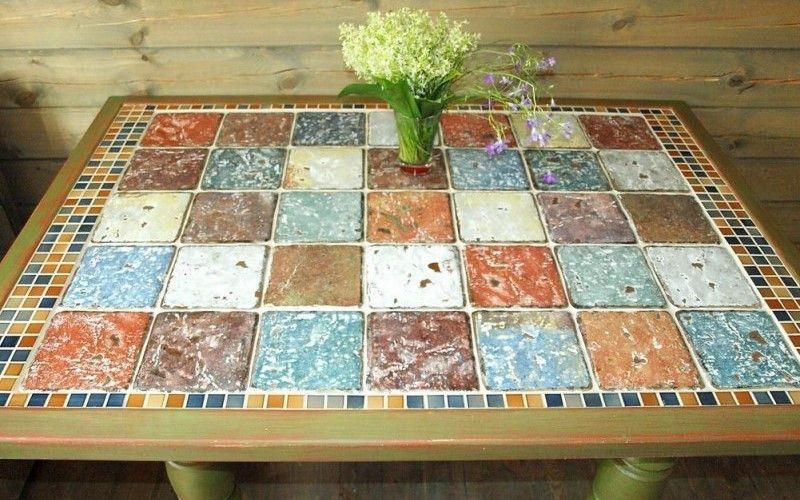 Декорирование столика керамической плиткой