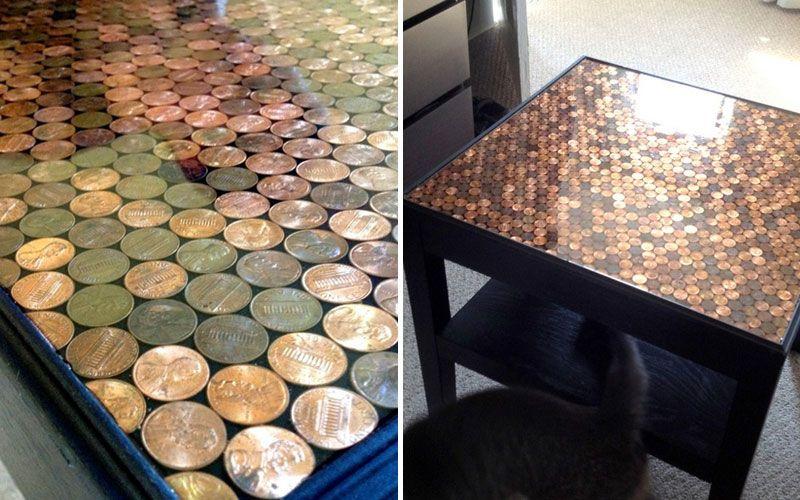 Декорирование столика монетами своими руками