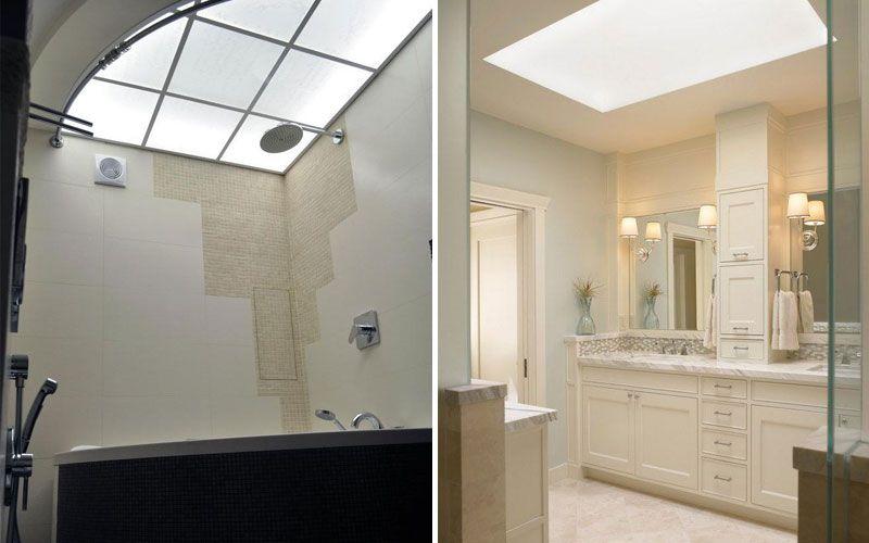 Фаьшокно в ванной на потолке
