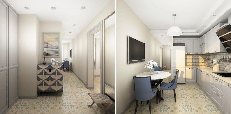 Проект однокомнатной квартиры 42 метра с будуаром